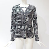Women's Camouflage Sweatshirt V-Neck Shirt