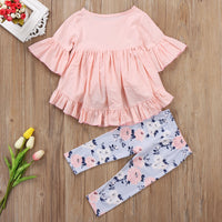 T-shirt Top +  Floral Long Pants 2PCS Set