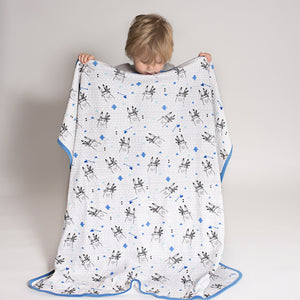 Aster and Oaks Bunny Chief Double Sided Blanket Blue