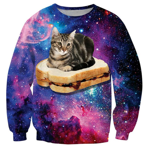 3D Print Galaxy Cat Sandwich Sweatshirt
