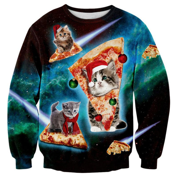 Christmas Cats Galaxy Pizza Sweatshirt