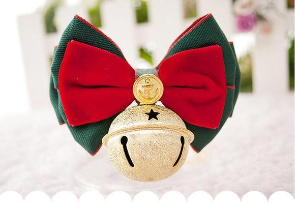 Elegant Christmas Ribbon Bow Collar With Bell