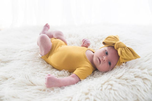 Oversized Bow Headband -Mustard
