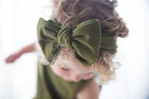 Oversized Bow Headband - Olive