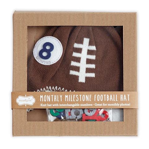 Mud Pie milestone football knit hat