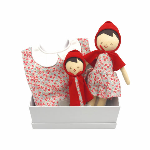 Little red riding hood personalised name bib gift set for girls