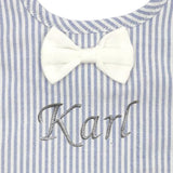 Alimrose bow tie bib blue stripe - Personalised name available