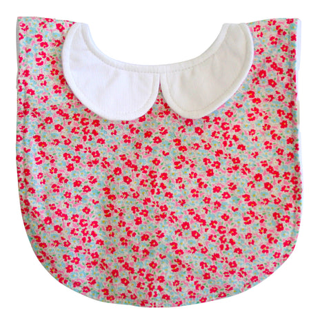 Alimrose peter pan collar bib sweet floral - Personalised name available