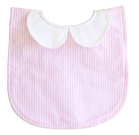 Alimrose peter pan collar bib pink stripe - Personalised name available