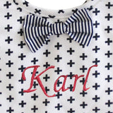 Alimrose bow tie bib swiss cross - Personalised name available