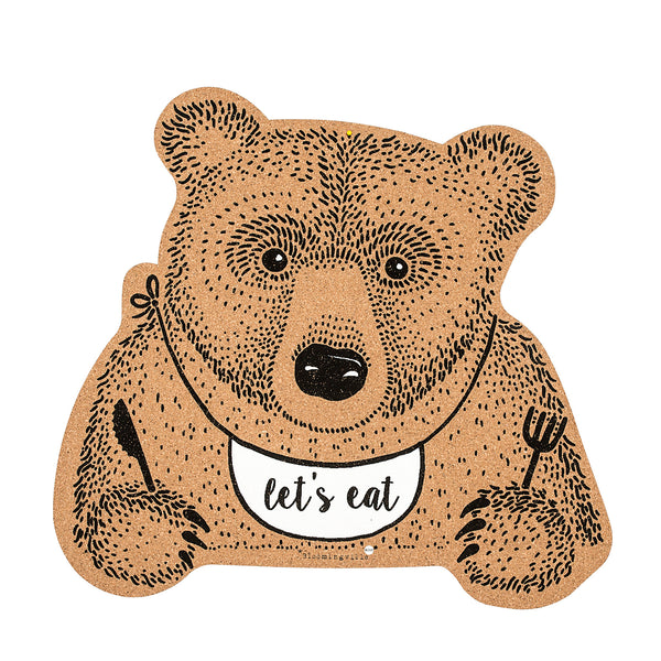 Bloomingville teddy bear cork placemat