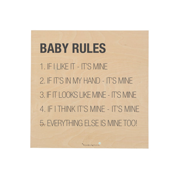 Bloomingville baby rules sign