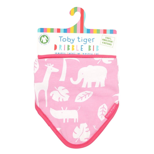 Toby Tiger pink jungle dribble bib