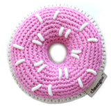 Cheengoo pink donut crocheted rattle