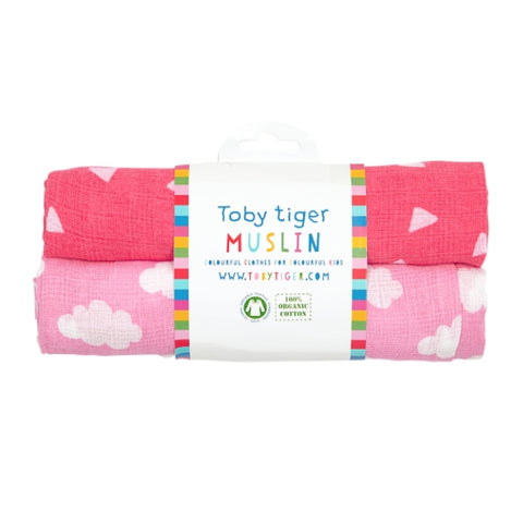 Toby Tiger pink cloud muslin pack