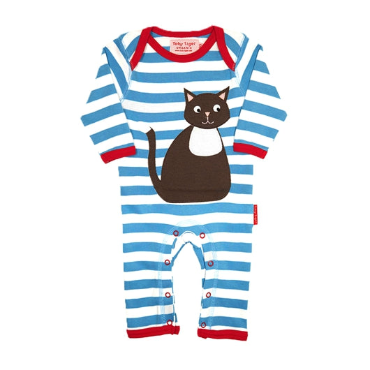 Toby Tiger cat appliqué sleepsuit