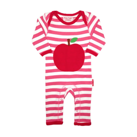 Toby Tiger apple appliqué sleepsuit
