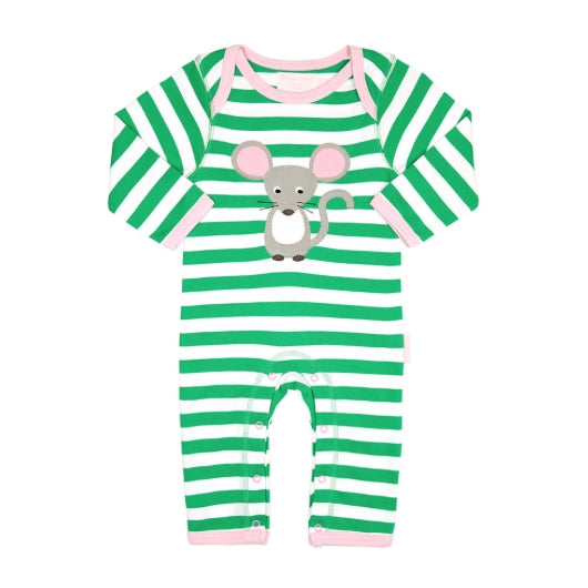 Toby Tiger mouse with cheese appliqué sleepsuit