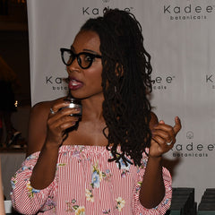 Shanola Hampton who plays Veronica in Shameless smelling the Lemon Myrtle in Kadee Botanicals Hand Cream