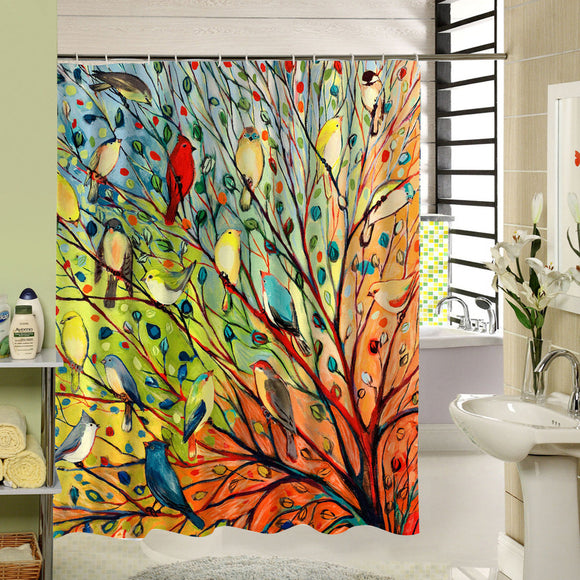 Branches Birds Fabric Shower Curtain