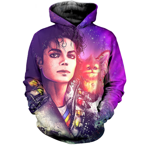 3D printed  Michael Jackson and the cat T-shirt Hoodie