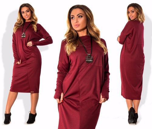 Elegant Solid Long Sleeve Casual Loose Party Shift Office Plus Size Dress 6XL