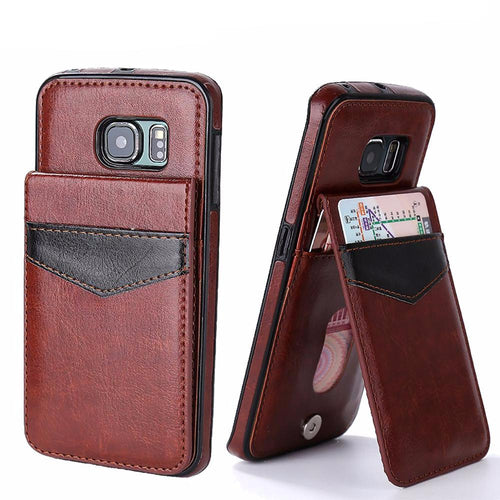 Leather Case with Card Holder For Samsung