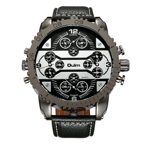Sports Leather Strap Four Time Zones Men Big Watch S023