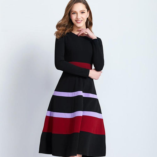 Long-Sleeves Knee-length O-neck Stripped Dress