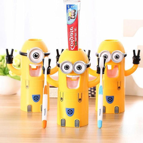 Monki Global | Minions Toothbrush Holder Automatic Toothpaste Dispenser