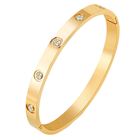 8 Crystal Yellow Gold Love Eternity Bracelet