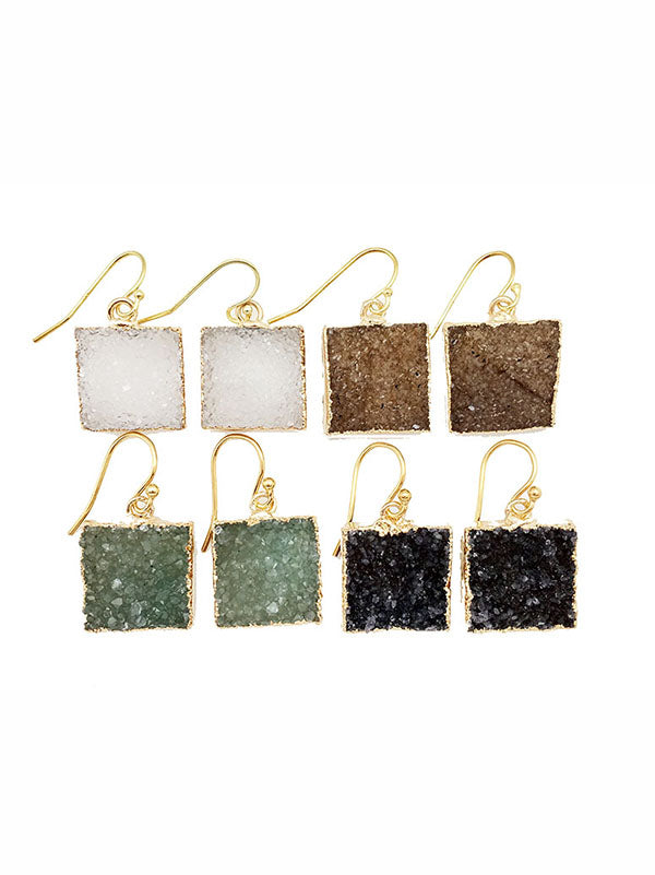 Double Druzy Square Earrings