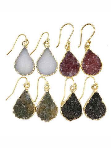 Double Druzy Teardrop Earrings