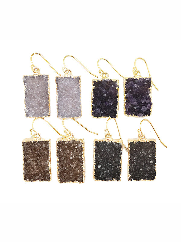 Double Druzy Rectangle Earrings