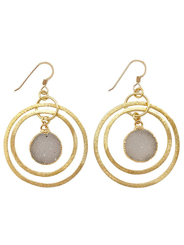 Circle Druzy Hoop Earrings