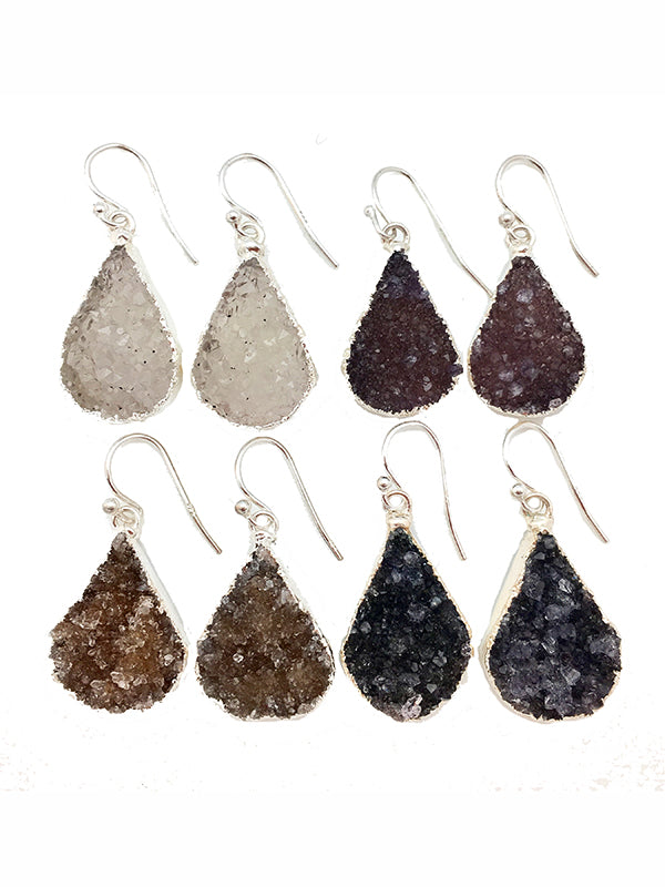 Silver Double Druzy Teardrop Earrings