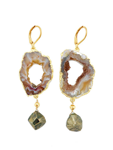 Elvira Geode Earrings