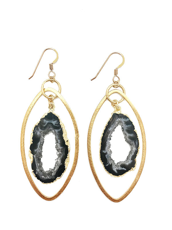 Rock N Roll Geode Hoop Earrings