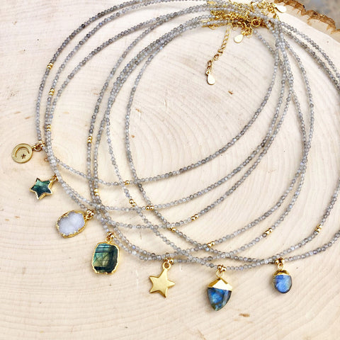 Labradorite Gemstone Charm Necklace