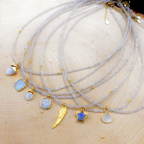 Moonstone Gemstone Charm Necklace
