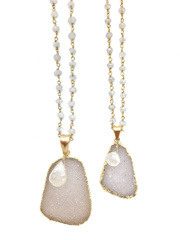 Moonstone Druzy Necklace