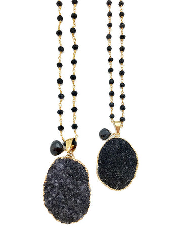 Black Onyx Druzy Necklace