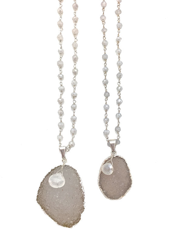 Silver Moonstone Druzy Necklace