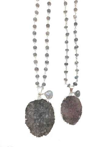 Silver Labradorite Druzy Necklace