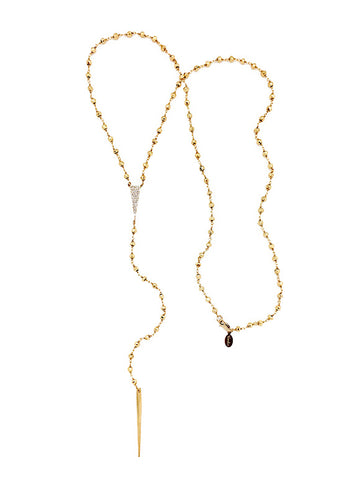 Golden Tri-CZ Lariat Necklace