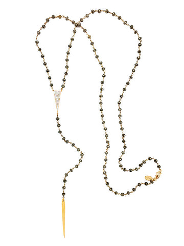 Pyrite Tri-CZ Lariat Necklace