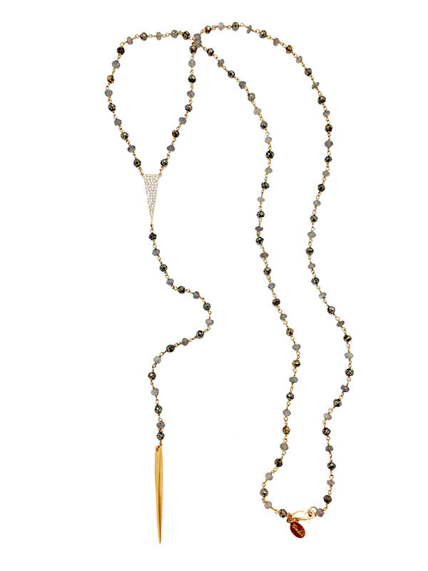 Pyrite & Lab Tri-CZ Lariat Necklace
