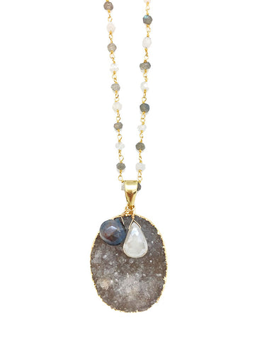 Moonstone & Labradorite Druzy Necklace