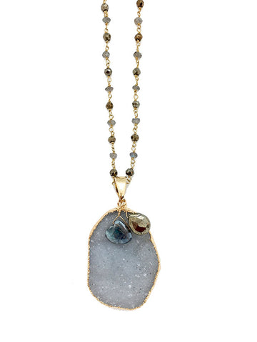 Labradorite & Pyrite Druzy Necklace