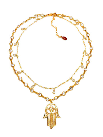 Golden Hamsa Hand Necklace